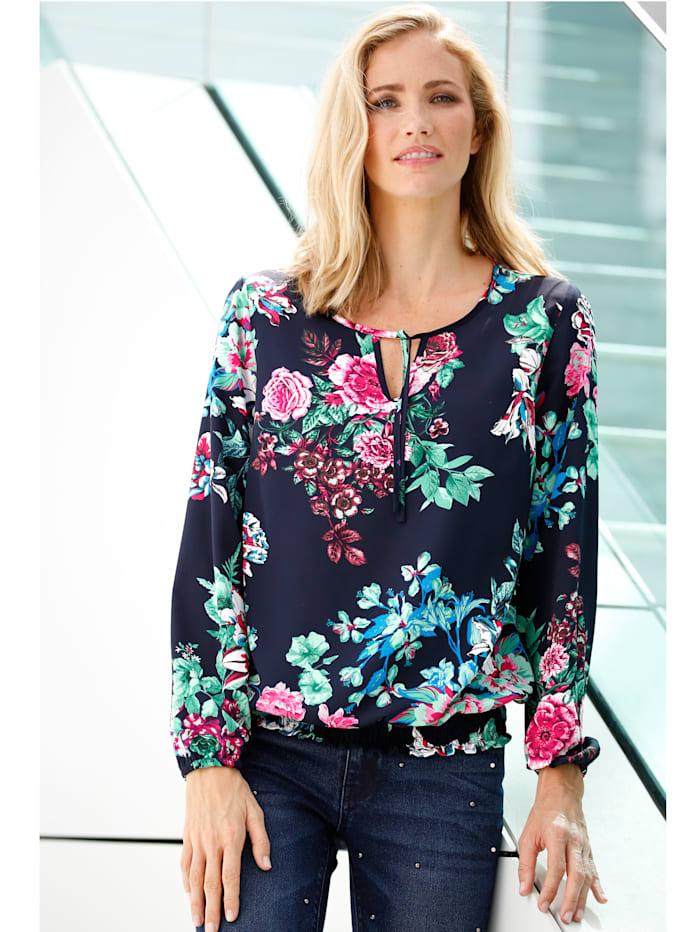 Dress In Tunika mit Blumendruck, Marineblau