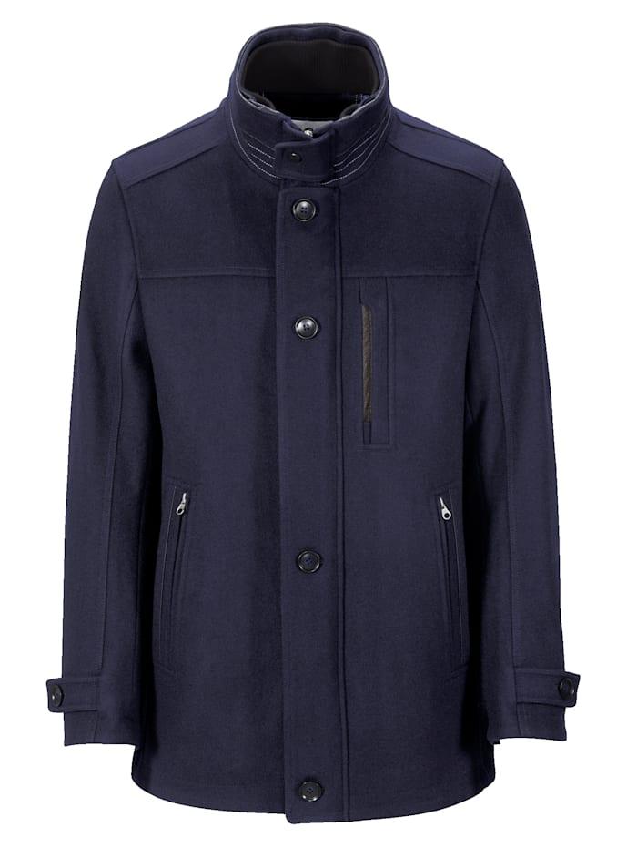 BABISTA Manteau laine à empiècement maille au col, Marine