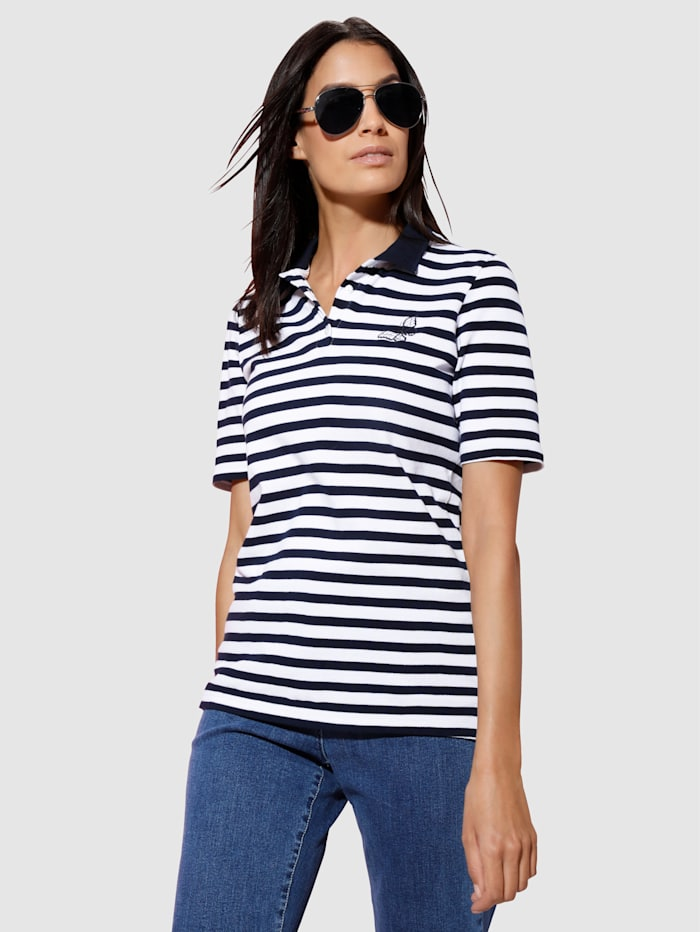Dress In Poloshirt mit Stickerei, Marineblau/Weiß