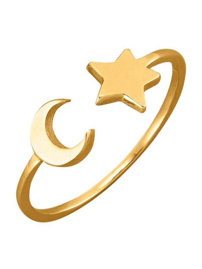 Bague étoile-lune en or jaune 375, Jaune