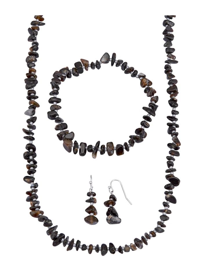 3-delige sieradenset Zwarte agaten (beh.), Zwart