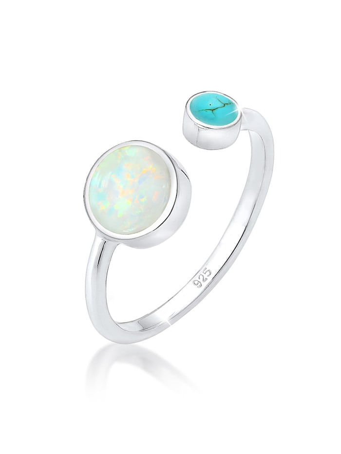 Elli Ring Geo Opal Howlith Boho Offen Verstellbar 925 Silber, Silber