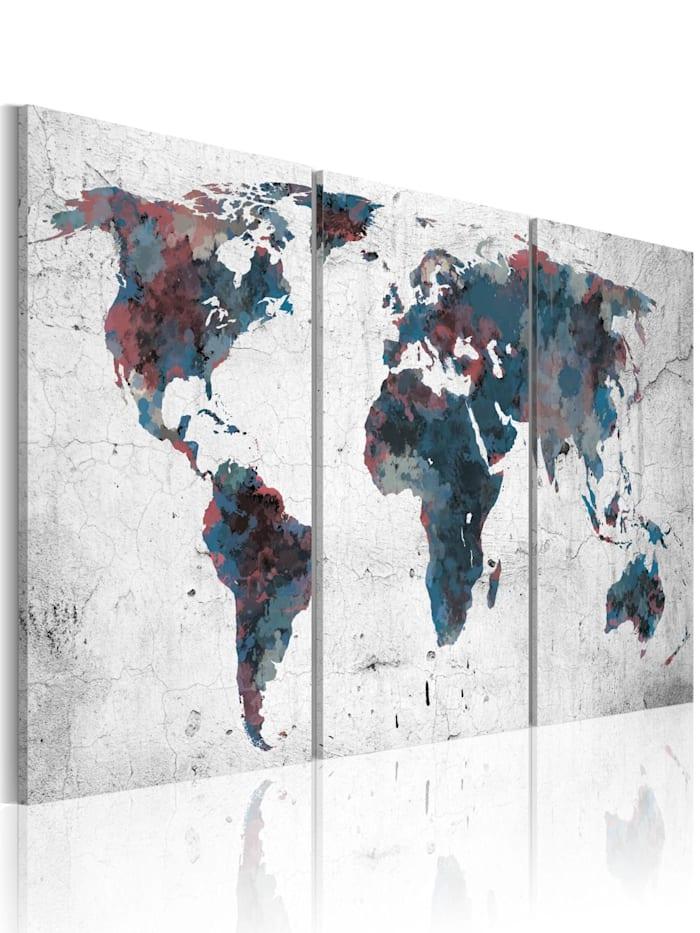 artgeist Wandbild Kontinentaldrift, Dunkelblau,Violett,Grau,Weiß