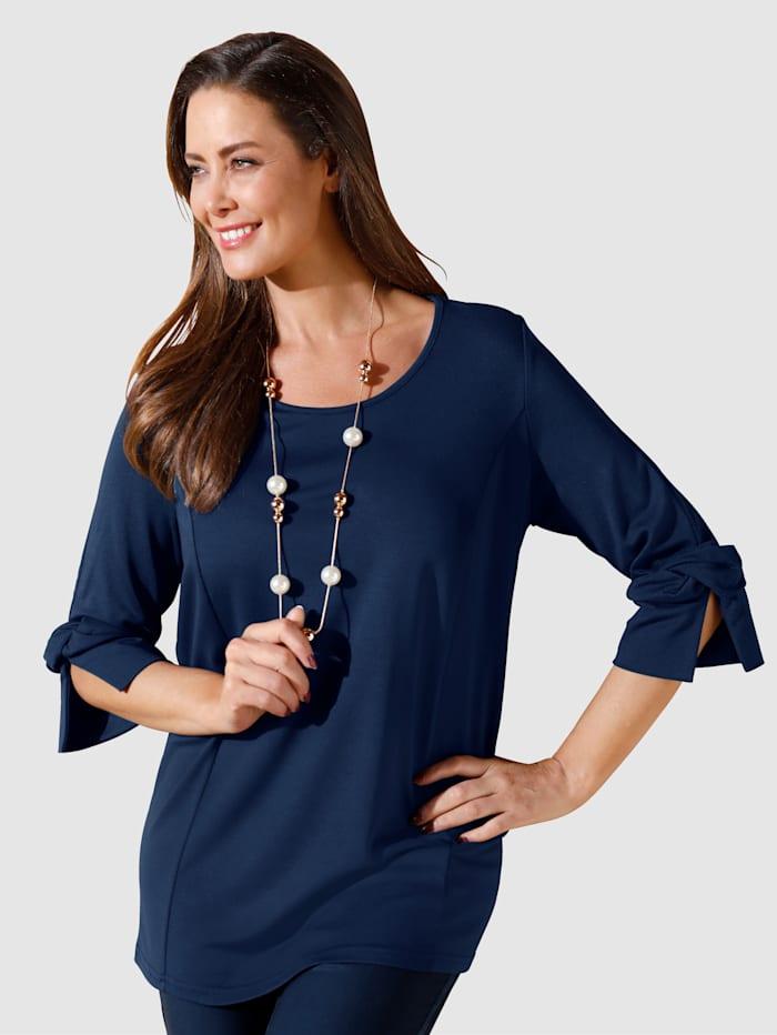 MIAMODA Shirt mit Knotendetails an den Ärmeln, Marineblau