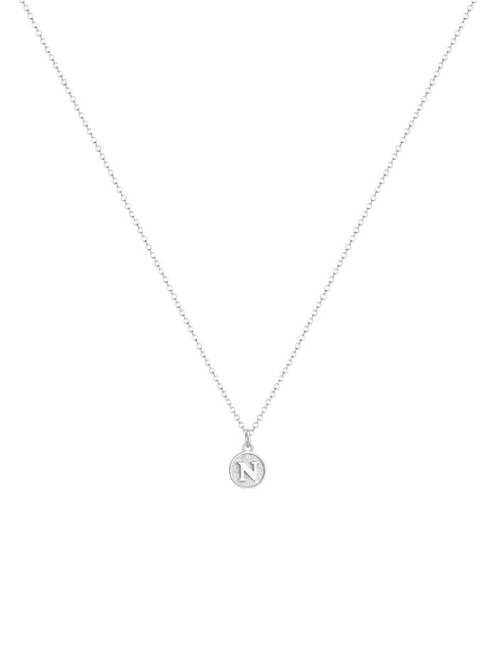Halskette Buchstabe N Initialen Vintage Plättchen 925 Silber