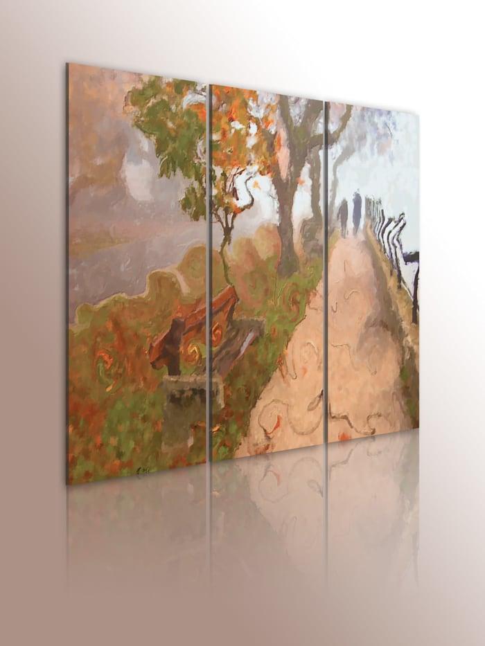 artgeist Wandbild Promenade im Herbst - Triptychon, Beige,Braun,Grün