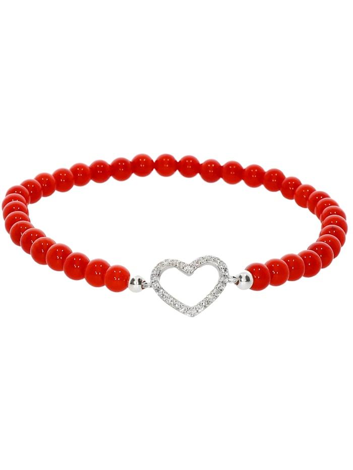 1001 Diamonds Herz Koralle Armband 925 Silber 17 cm, rot