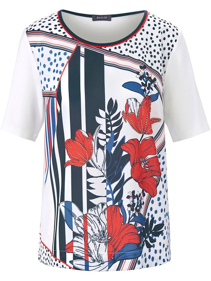 Basler Blusenshirt mit bedrucktem Vorderteil, offwhite multicolour