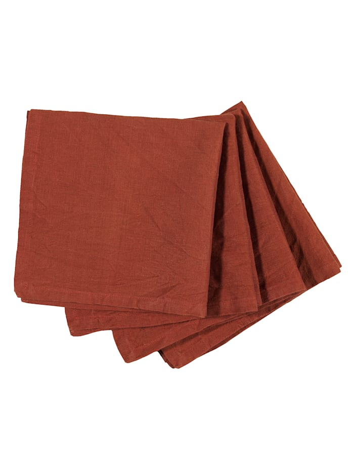 IMPRESSIONEN living Lot de 4 serviettes de table, Rouille