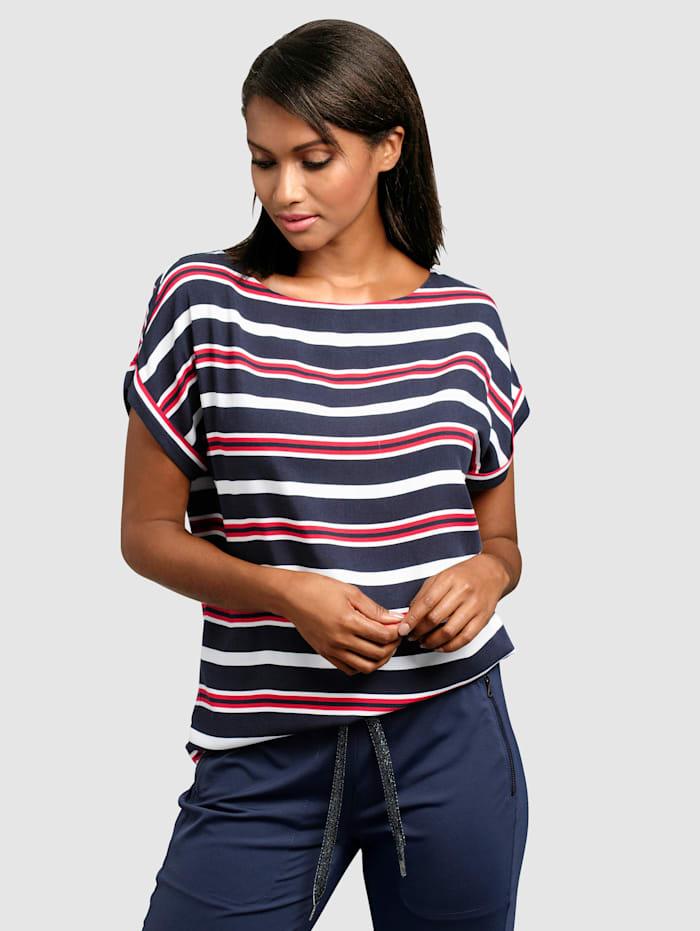Alba Moda Bluse in schönem Streifenverlauf, Marineblau/Rot/Weiß