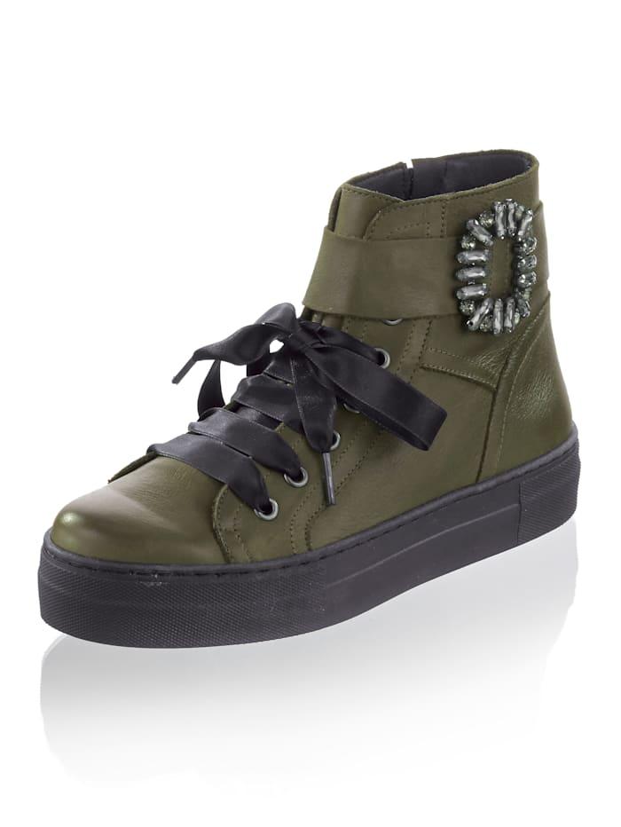 Alba Moda Sneaker aus Kalbsleder, Khaki