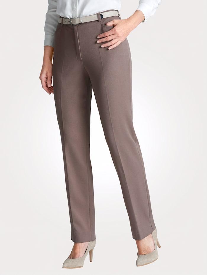 MONA Pantalon en matière stretch, Taupe