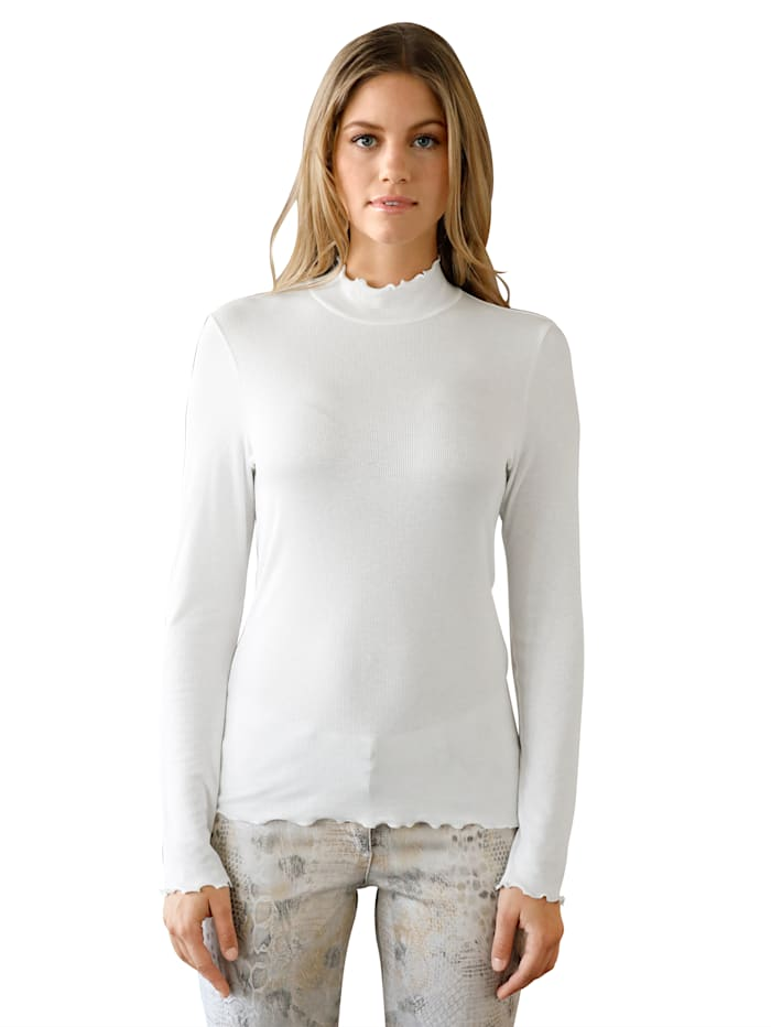 AMY VERMONT Shirt in geribde look, Offwhite