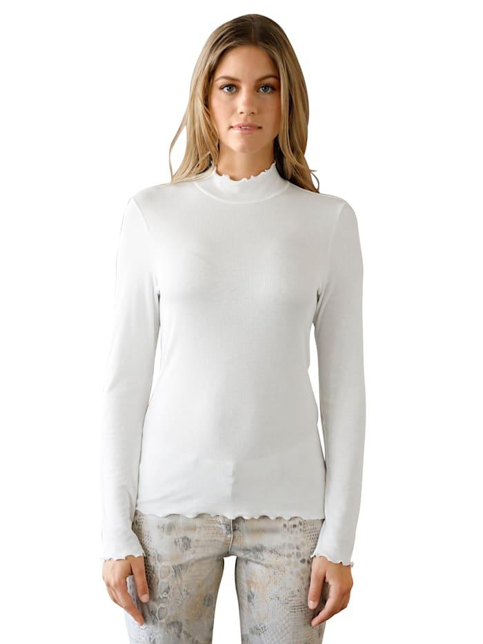 AMY VERMONT T-shirt à col montant d'aspect côtelé, Blanc cassé