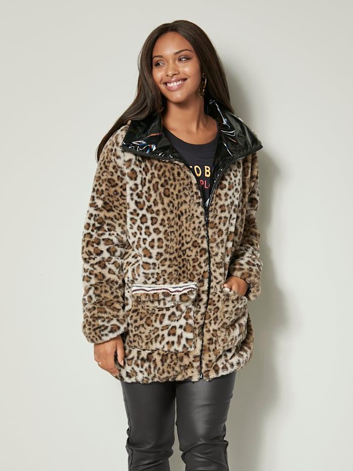 Angel of Style Keerbare jas met contrastkleurige kant, Zwart/Beige