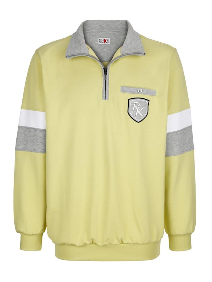 Roger Kent Sweatshirt med kontrasterande detaljer, Limegrön
