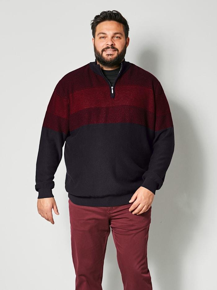 Men Plus Pullover aus reiner Baumwolle, Schwarz/Bordeaux