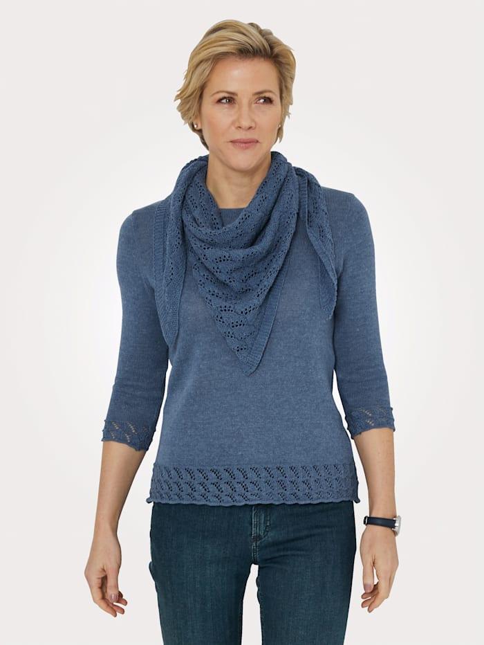 MONA Trui met sjaal, Rookblauw