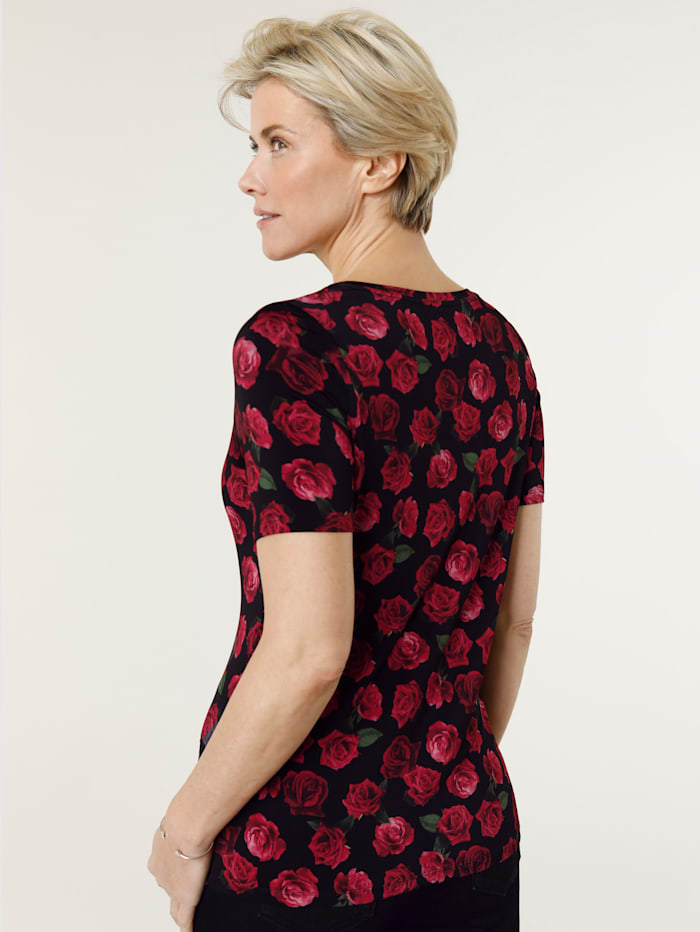 Top with rose print