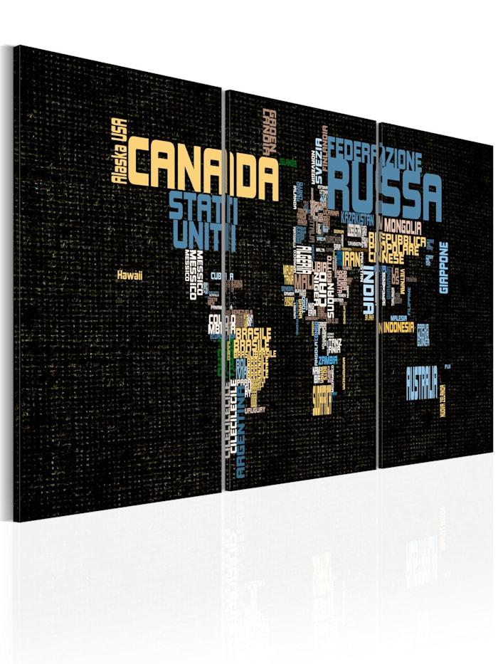 artgeist Wandbild Italian map of the World on texture background, Schwarz,Blau,Gelb