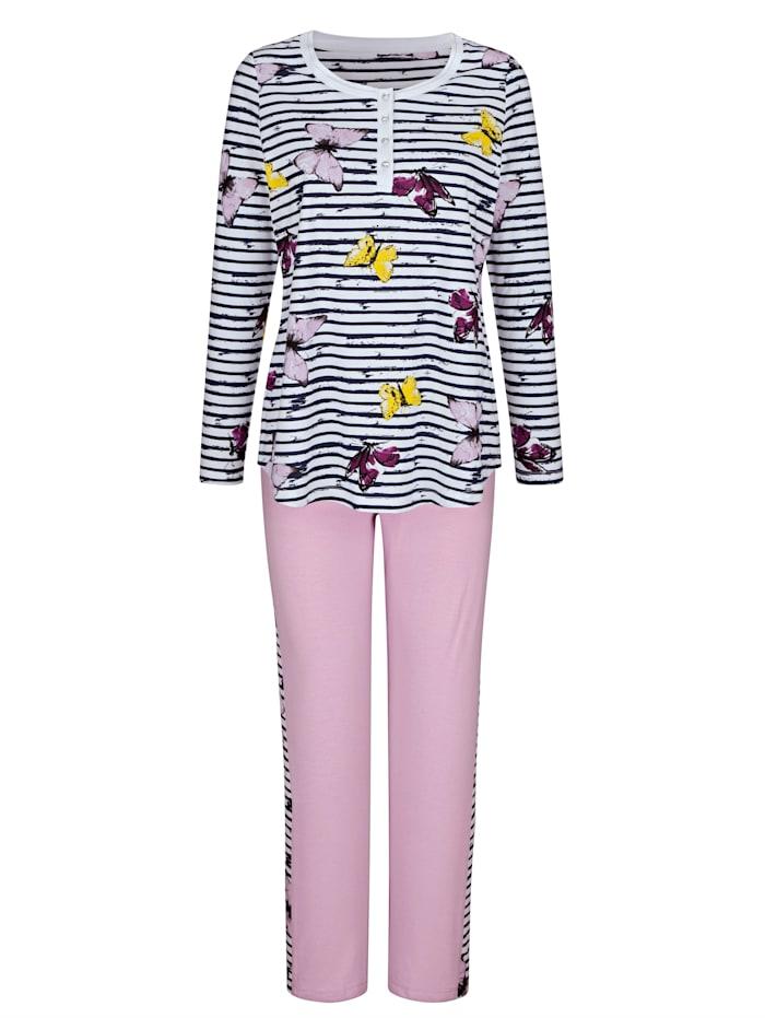 Pyjamas i 2-pack med fjärilsmotiv och snygga kontraster