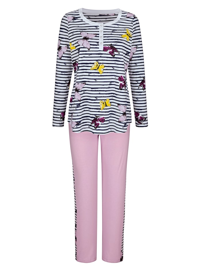Pyjama's per 2 stuks met vrolijke print en vel contrasten