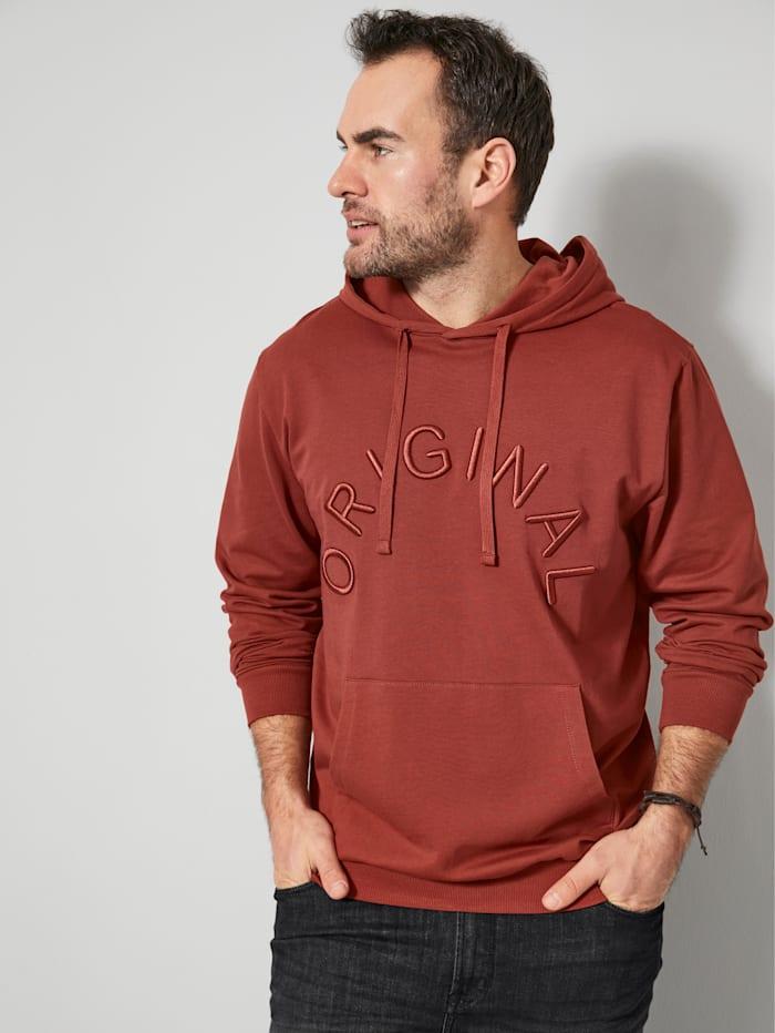 Men Plus Sweatshirt met kangoeroezak, Roest