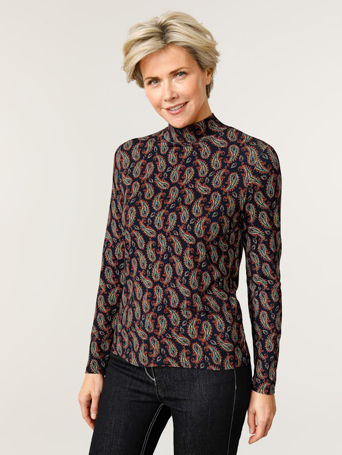 MONA Shirt met mooi paisleydessin, Marine/Petrol/Steenrood