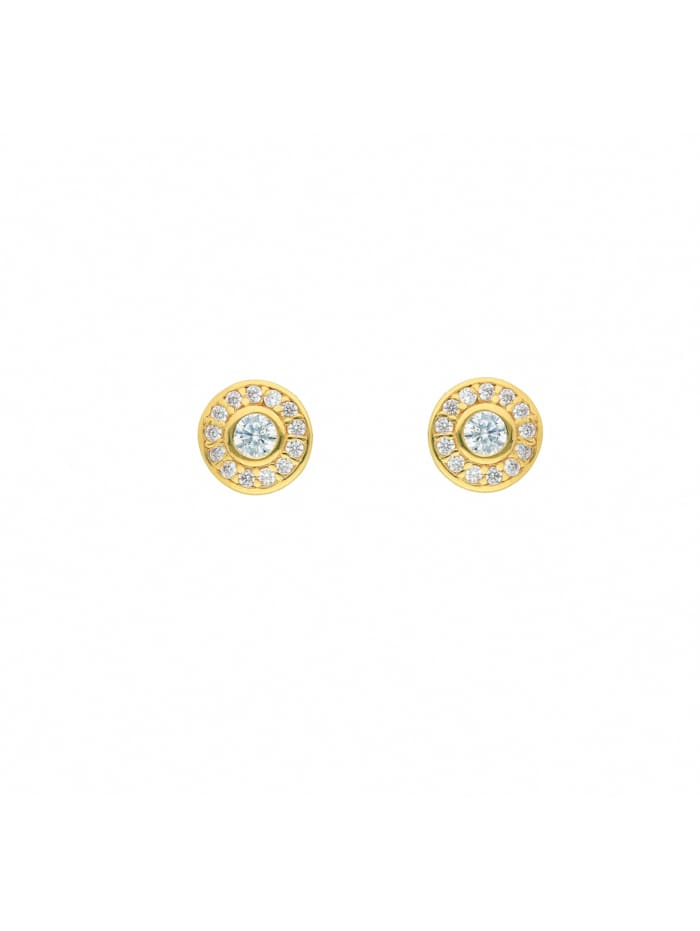 1001 Diamonds 1001 Diamonds Damen Goldschmuck 585 Gold Ohrringe / Ohrstecker mit Zirkonia Ø 7,1 mm, gold