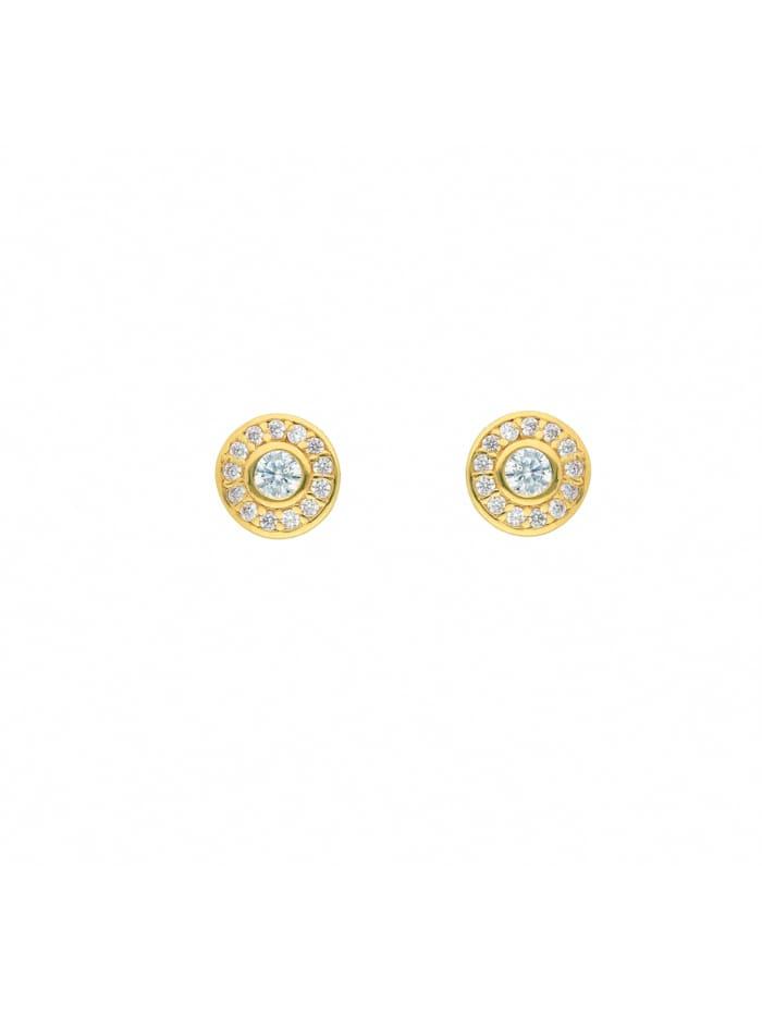 1001 Diamonds Damen Goldschmuck 585 Gold Ohrringe / Ohrstecker mit Zirkonia Ø 7,1 mm, gold
