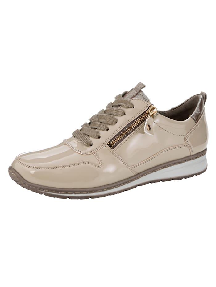 Jenny Sneakers à lacets légèrement scintillants, Beige