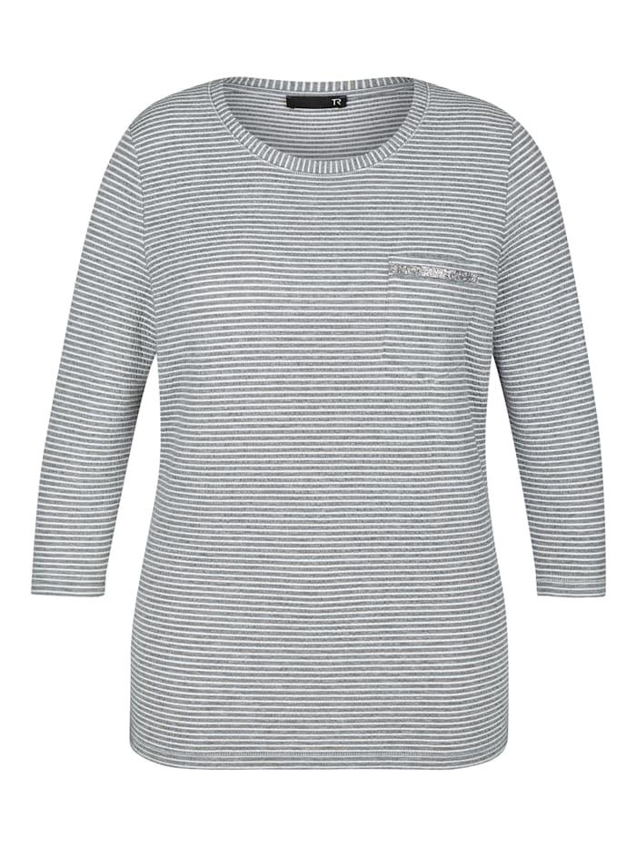 Thomas Rabe Shirt mit Streifenmuster und Brusttasche, STEIN