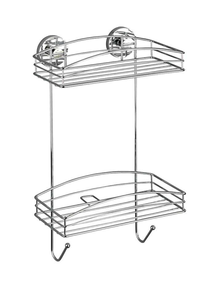 Wenko Vacuum-Loc® Wandregal 2 Etagen, Befestigen ohne bohren, Chrom