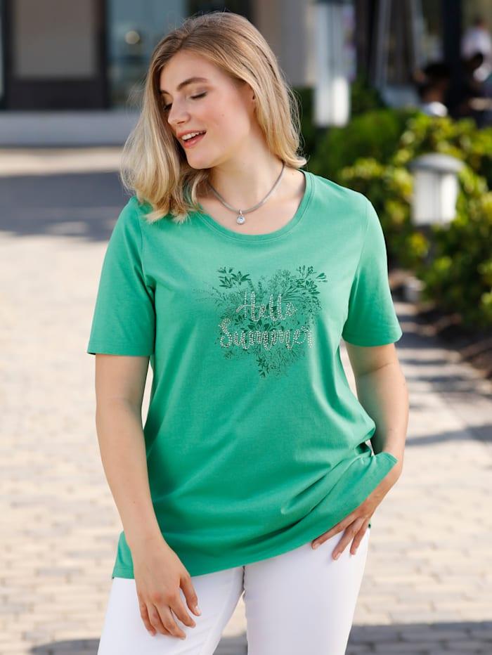m. collection Shirt aus reiner Baumwolle, Grün
