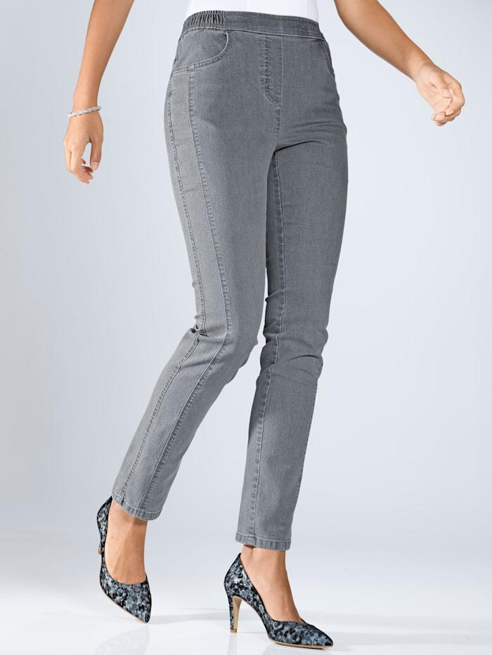 m. collection Jeans vorne mit streckender Längsnaht, Grau