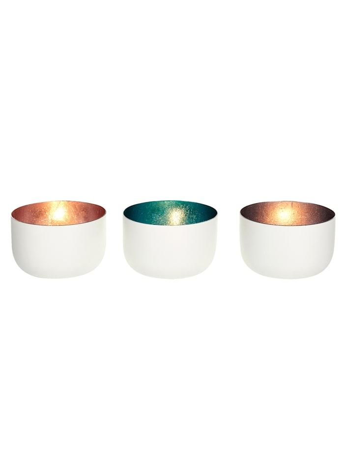 IMPRESSIONEN living Teelichthalter-Set, 3-tlg., weiß/rosé/petrol/silberfarben