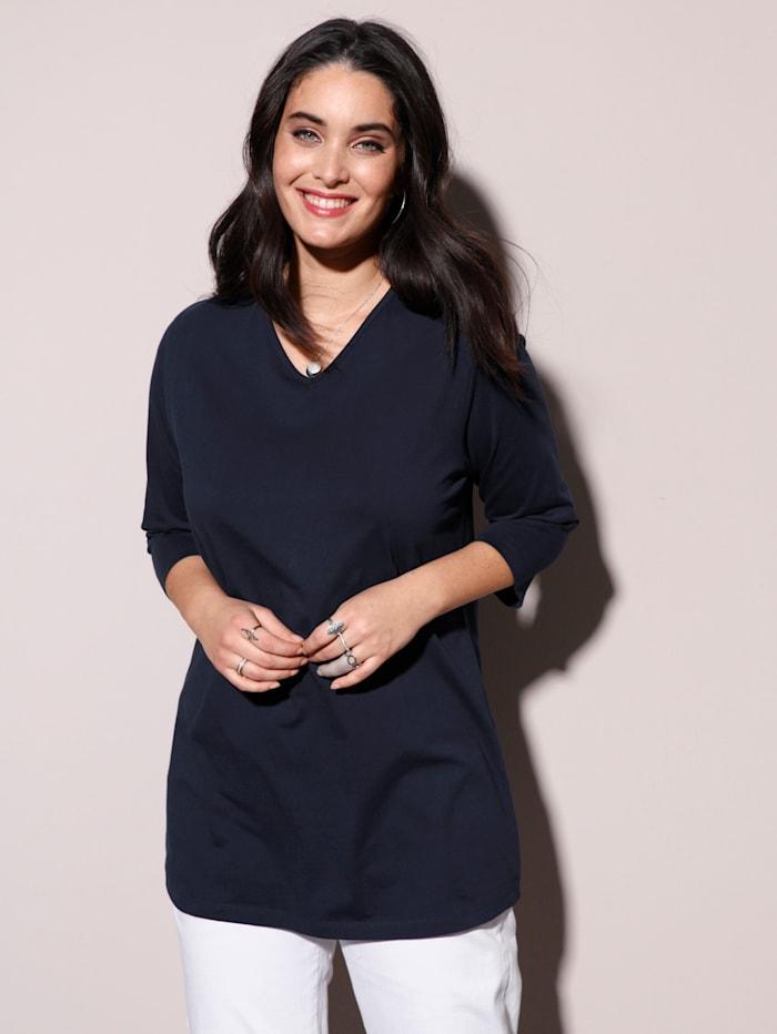 MIAMODA Shirt mit streckendem V-Ausschnitt, Marineblau