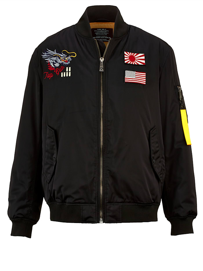 Top Gun Bomber jack met mouwzakje en borduursels, Zwart