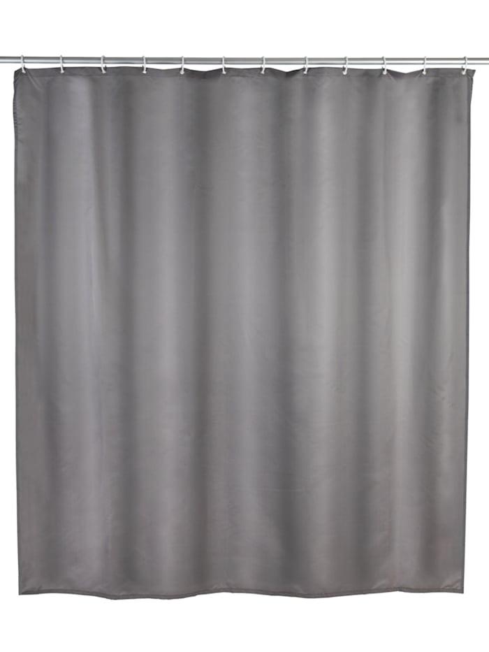 Wenko Anti-Schimmel Duschvorhang Uni Grey, Textil (Polyester), 180 x 200 cm, waschbar, Grau