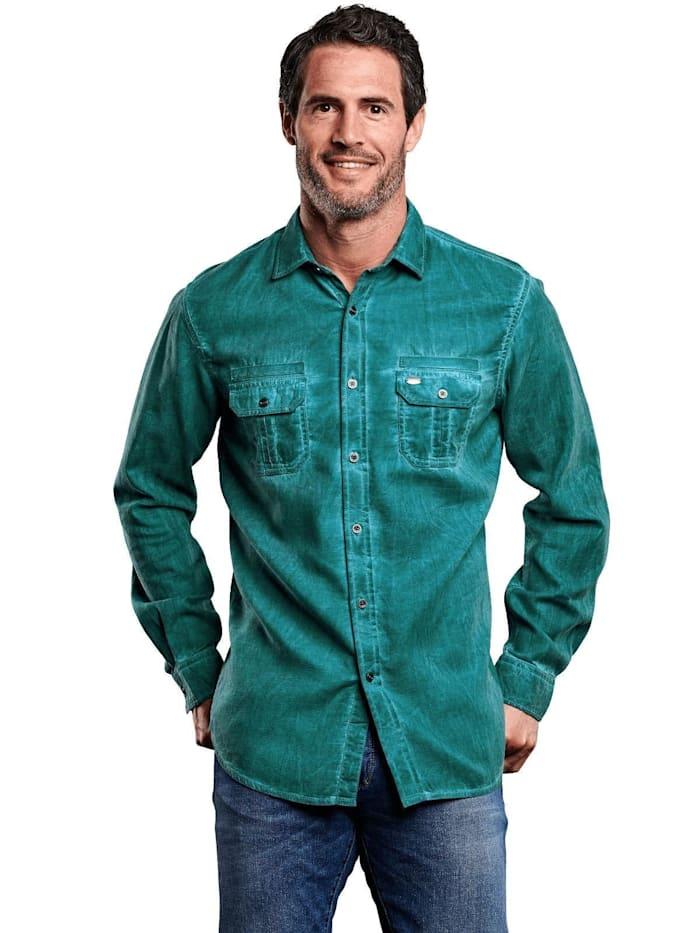 Engbers Hemd mit modischer Waschung, Petrolblau