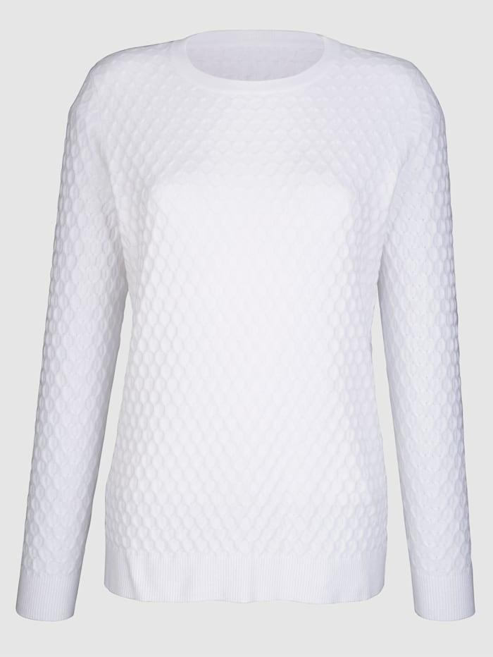 Dress In Pullover mit strukturierter Warenobfläche, Weiß