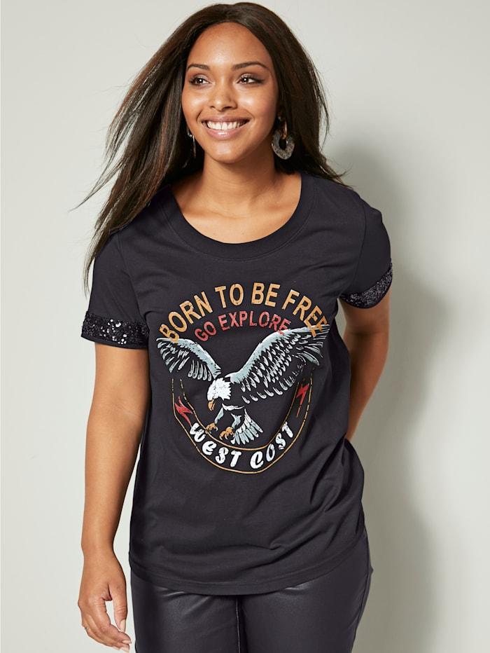 Angel of Style Shirt aus reiner Baumwolle, Schwarz