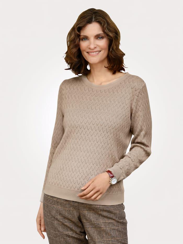 MONA Pullover mit Ajour-Strick, Sand