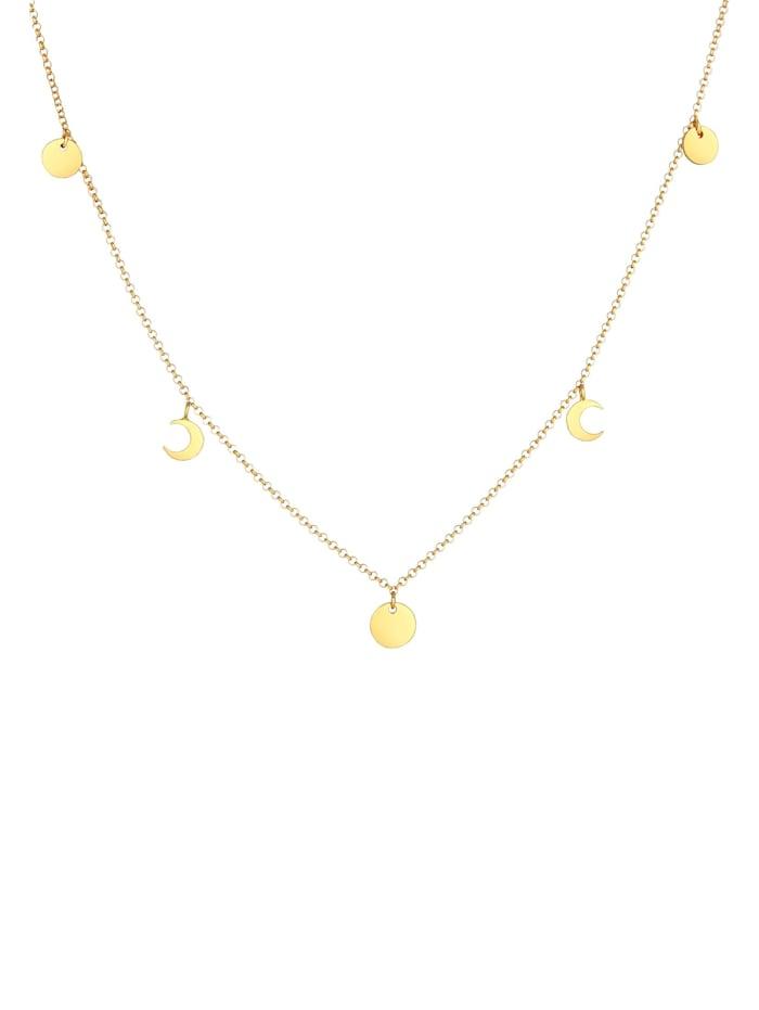 Halskette Halbmond Astro Plättchen Trend Erbskette 925 Silber