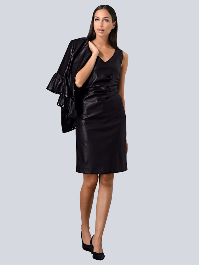 Alba Moda Kleid aus Fake-Leder, Schwarz