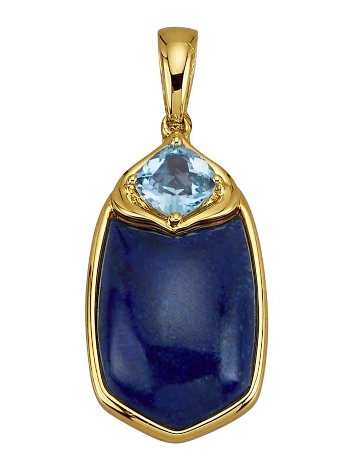 Diemer Farbstein Anhänger in Gelbgold 585, Blau
