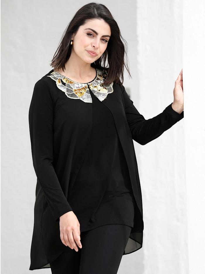 m. collection 2-in-1 Shirt mit aufwändiger Paillettenstickerei, Schwarz