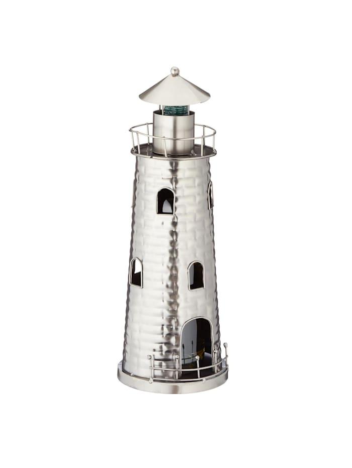 HTI-Living Weinflaschenhalter Leuchtturm, Silber
