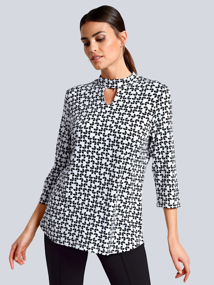 Alba Moda Druckshirt in grafischem Print allover, Off-white/Schwarz