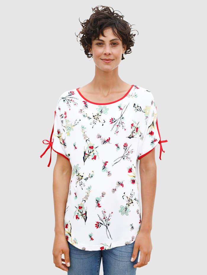 Dress In Shirt mit schönem Blumenprint, Weiß